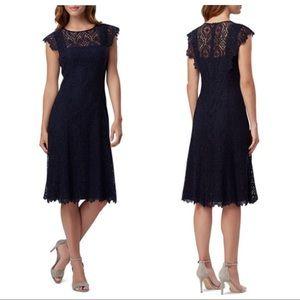 Tahari Navy Blue Lace Illusion Cap Sleeve Dress